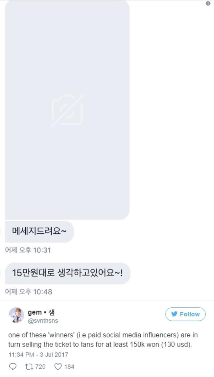 Và sau cùng, người này đã bán chiếc vé dự fan meeting với giá 150.000 won