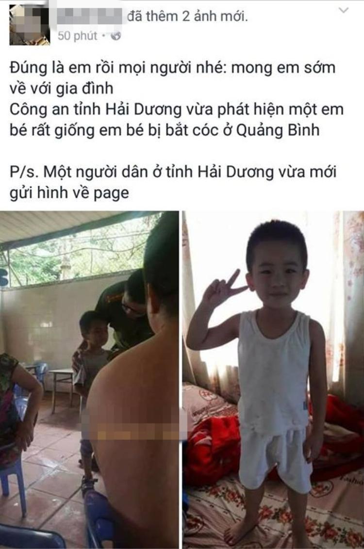 Thực hư về những bức ảnh lan truyền trên mạng, nghi là bé trai bị mất tích ở Quảng Bình