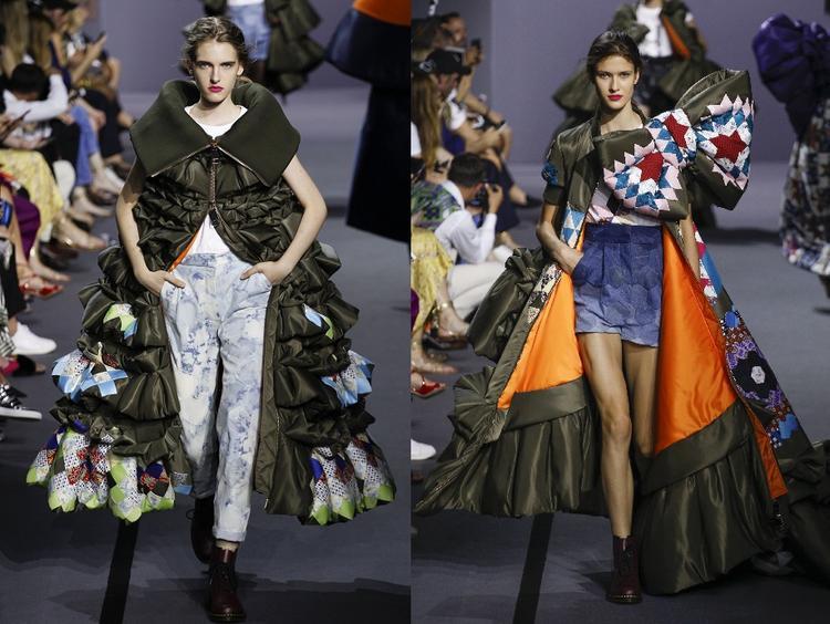 """Những chiếc áo choàng """"khủng"""" mang đường may xếp li là chủ yếu được tạo kiểu đến mức cầu kỳ. Với những ấn tượng mạnh như vậy, Viktor & Rolf đã đủ đánh dấu một mốc khó quên trong tuần lễ thời trang Paris Couture 2017."""