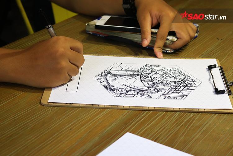 """Khách tham gia được trải nghiệm vẽ """"Sài Gòn 3 mét vuông"""" trên giấy"""