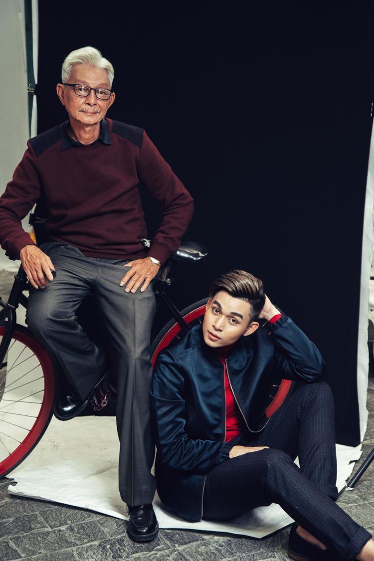 Bộ ảnh cha và con của Jun Phạm cho thấy tình yêu thương của anh dành cho người cha của mình.