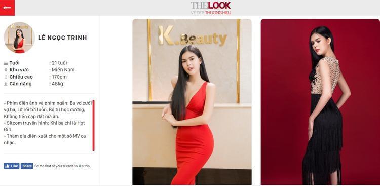 Profile dự thi của Lê Ngọc Trinh tại The Look Online 2017.