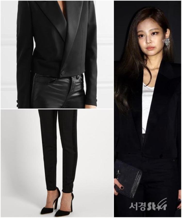 Jennie hóa thân thành cô nàng lạnh lùng girl với style menswear . Cả set đều thuộc Saint Laurent bao gồm quần skinny 746 USD, áo blazer 2799 USD, tổng số tiền chi cho 2 item này lên tới 80 triệu đồng.