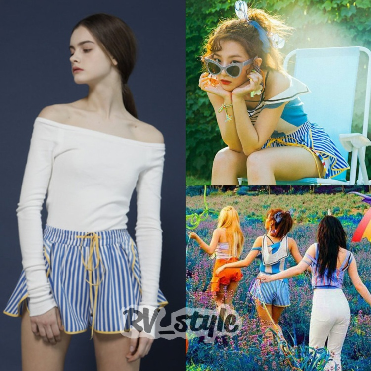 Trong cùng set đồ đó, cô nàng còn diện Coicoi stripe shorts ₩48,000 (1 triệu đồng) màu xanh họa tiết kẻ sọc vô cùng trẻ trung.