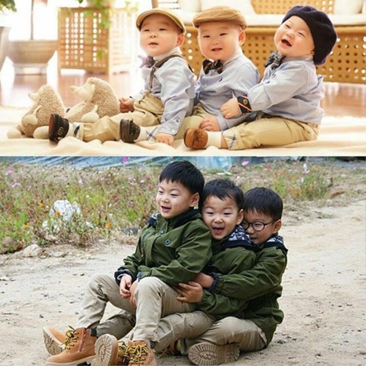 Bộ ba anh em khi lớn đã không còn mũm mĩm như vẫn rất đẹp trai.