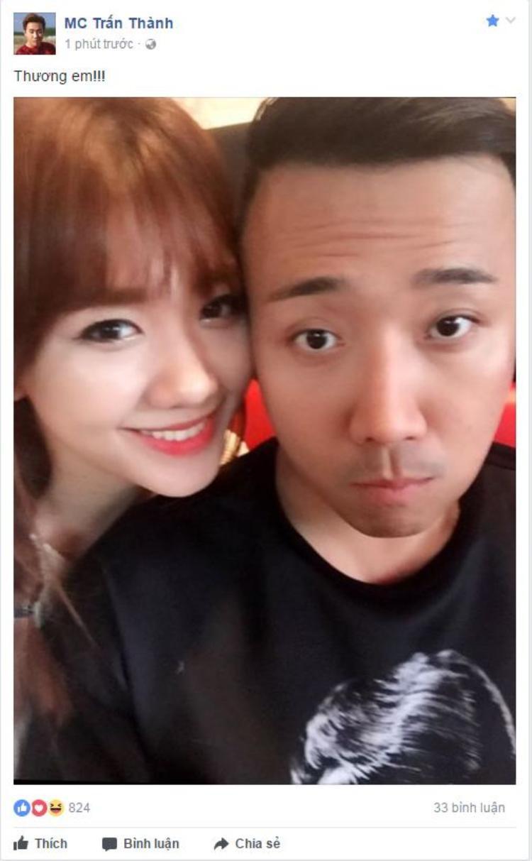 """Trấn Thành động viên bà xã Hari Won giữa """"bão"""" dư luận."""