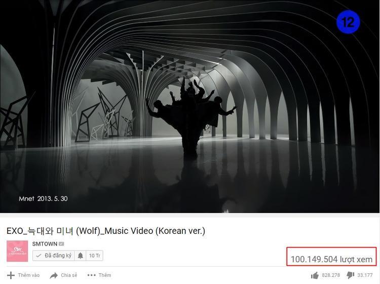Wolf chính thức trở thành MV thứ 6 sở hữu 100 triệu lượt xem của EXO.