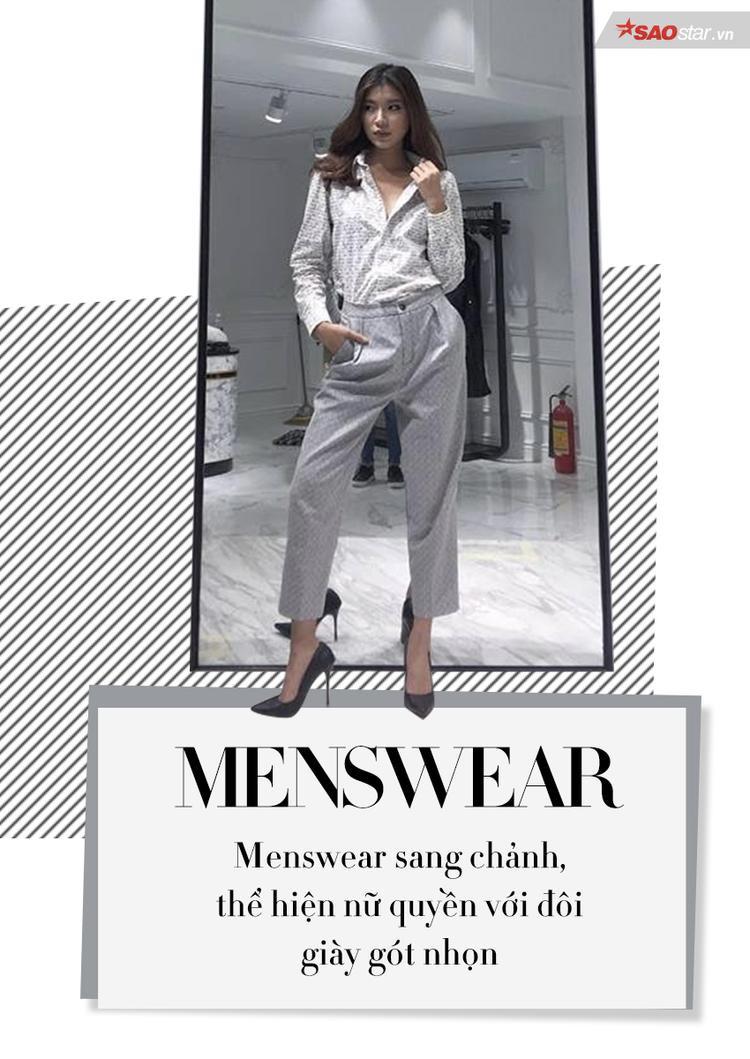 Dáng cao, đôi chân dài chính là lợi thế cực kì lớn của Đồng Ánh Quỳnh khi diện các trang phục mang phong cách menswear.
