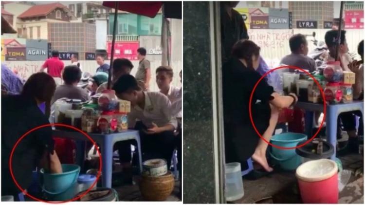 Cô gái dùng nước rửa chân pha trà đá cho khách. Ảnh cắt từ clip