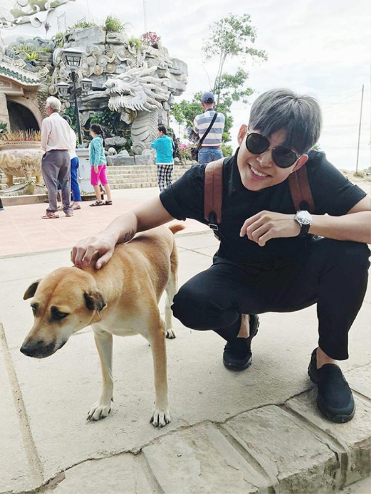 Jun dành nhiều tình cảm cho các em cún.