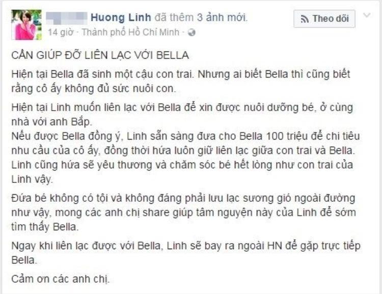 Chia sẻ về dòng trạng thái:Sẵn sàng chi 100 triệu đồng để được nhận nuôi con Bella, chị Linh cho hay: sẽ không đưa một lúc 100 triệu cho Bella mà mỗi tháng chỉ chu cấp từ 3 - 5 triệu đồng vừa đủ để chi tiêu sinh hoạt.