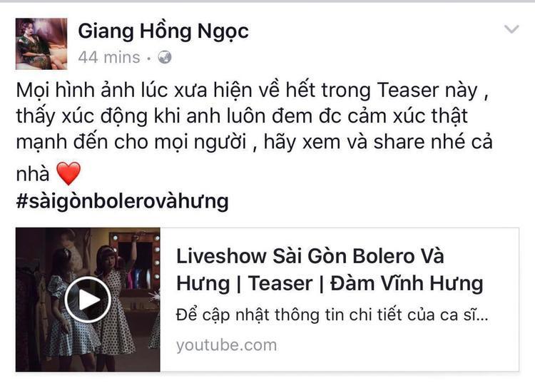 Riêng ca sĩ Giang Hồng Ngọc lại bị xúc động vì những hình ảnh xưa cũ được tái hiện trong clip.