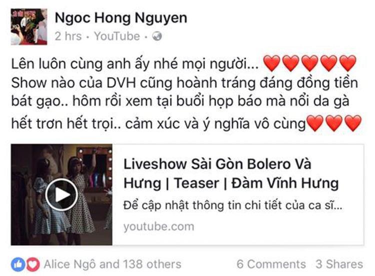 Trong khi đó, nữ ca sĩ Hồng Ngọc dù không tham gia được liveshow của đàn anh cũng thể hiện sự phấn khích trước ngày ra mắt.