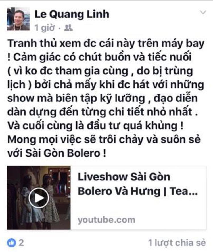 Quang Linh bày tỏ sự tiếc nuối vì không tham gia được do trùng lịch diễn từ trước.