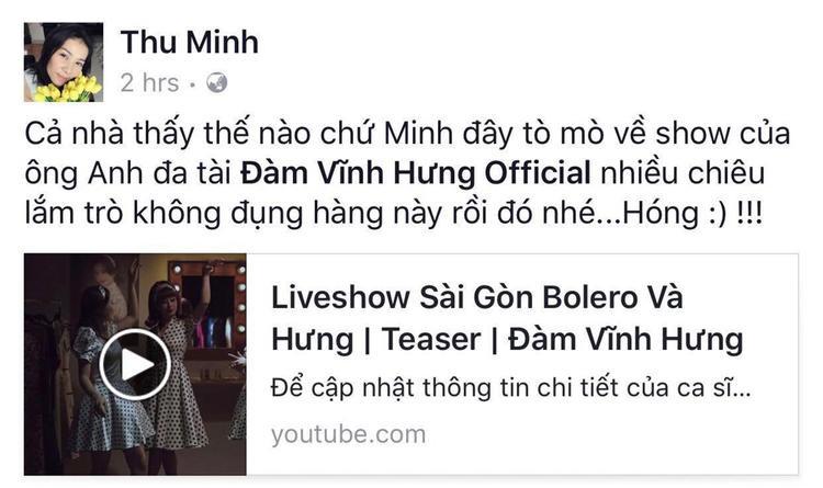 Diva Thu Minh nóng lòng đón chờ những tiết mục bolero của đàn anh và còn kêu gọi fan ủng hộ Mr. Đàm.
