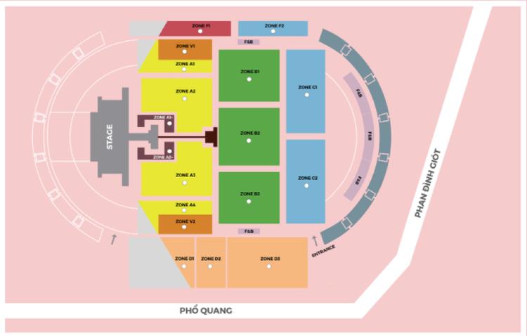 Sơ đồ vị trí của khán giả tham dự đêm diễn của Ariana Grande tại Việt Nam.(Ảnh chụp màn hình TicketBox)