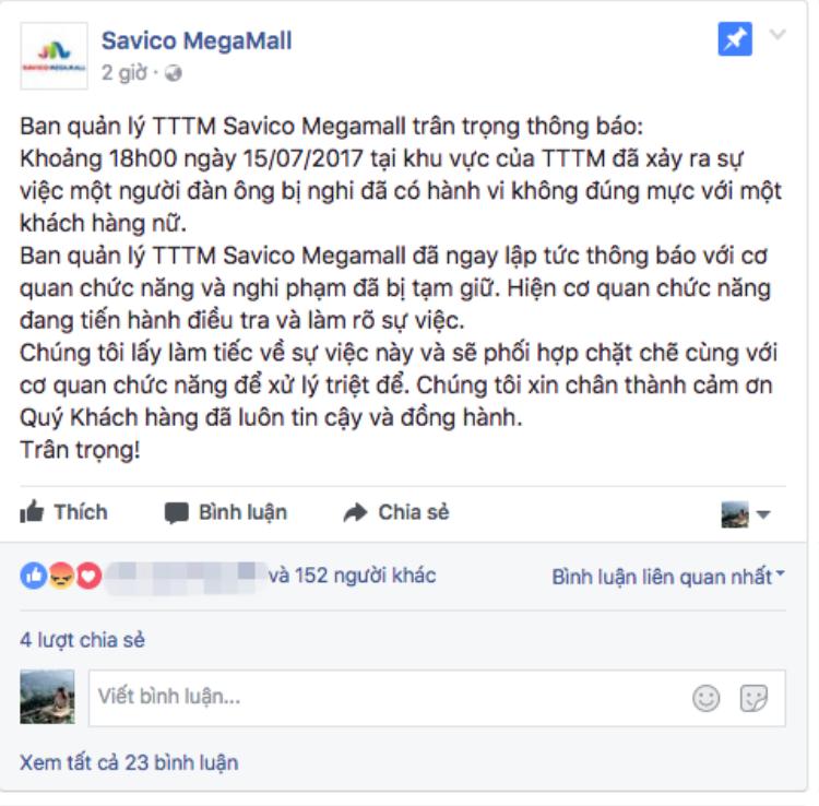 Hà Nội: Nghi vấn thông tin một người đàn ông có hành vi xâm hại bé gái 15 tuổi tại Savico MegaMall