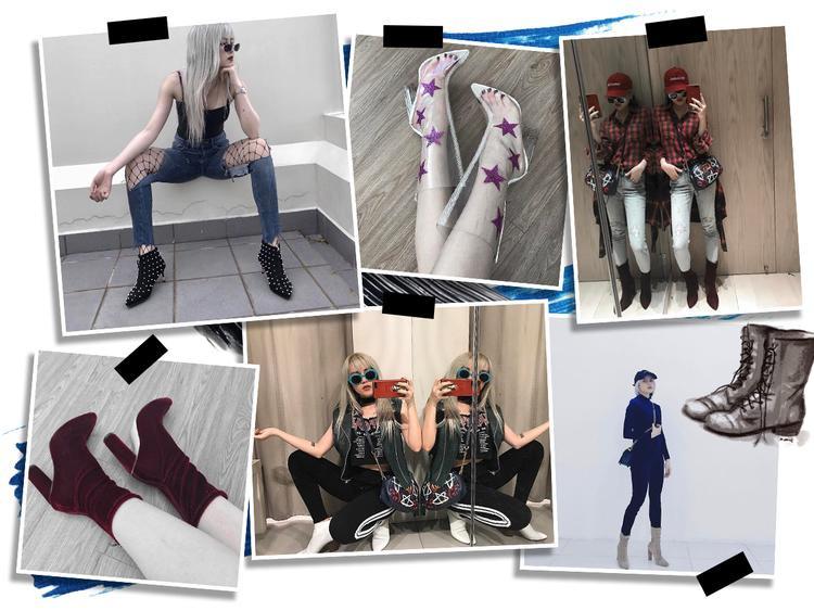 """Đầu tiên phải kể tới boots. Muôn màu muôn vẻ từ thấp tới cao cổ đều được cô nàng """"rinh"""" về tủ giày. Món đồ tôn lên sự chất ngầu không thể chối cãi cho mỗi outfit."""