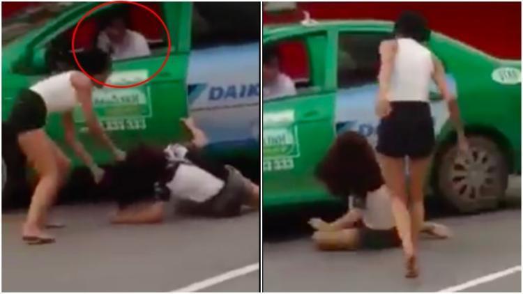 Nam tài xế taxi chứng kiến vụ việc nhưng không có biểu hiện can ngăn.