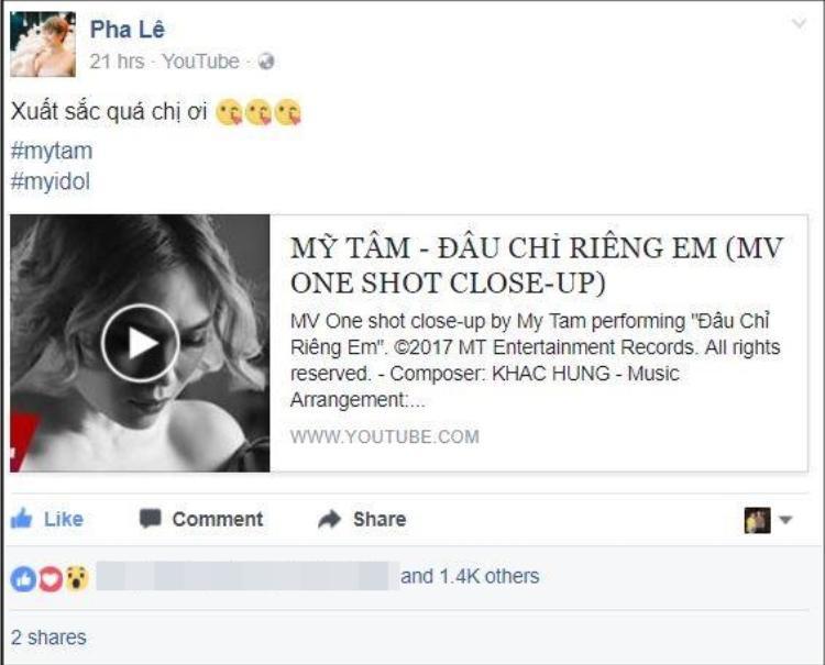 """Nữ ca sĩ Pha Lê không giấu sự ngưỡng mộ Mỹ Tâm với hashtag: """"#MyIdol""""."""