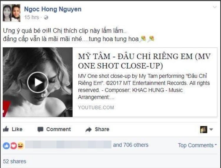 Nữ ca sĩ Hồng Ngọc chia sẻ MV và vẫn là những dòng tâm sự thân mật khi gọi Mỹ Tâm là bé.