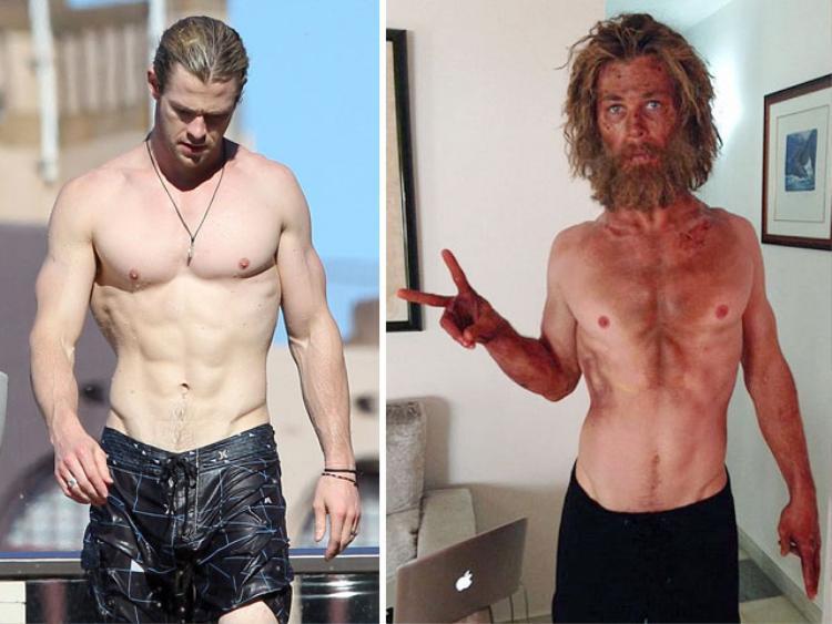 """Khác với nhan sắc xuống cấp vì bê bối của Aaron Carter, """"thần Sấm"""" Chris Hemsworth trở nên """"xác xơ"""" vì phải ép cân cho vai diễn Owen Chase - một thủythủ bị mắc kẹt trên biển trong 90 ngày trong bộ phim Heart of the Sea.Anh chỉ được phép nạp 500-700 calories/ngày trong 3-4 tuần. Kết quả, từ một anh chàng cơ bắp vạm vỡ, Chris trông èo ọt như một tàu lá chuối."""