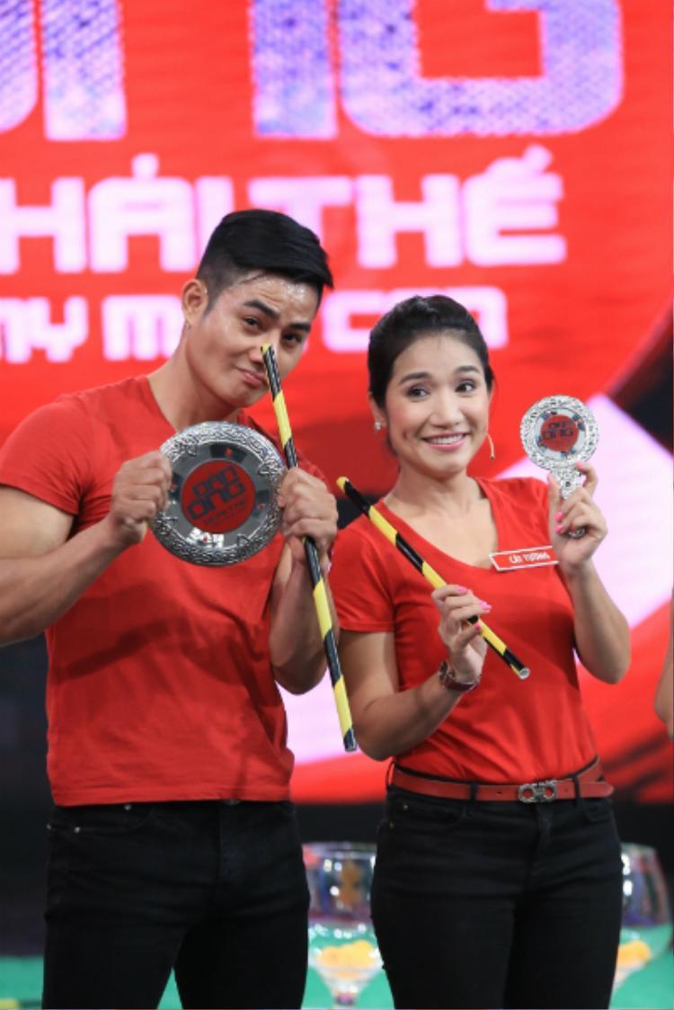 Nữ diễn viên Cát Tường và người yêu Minh Thành cùng tham gia một gameshow.