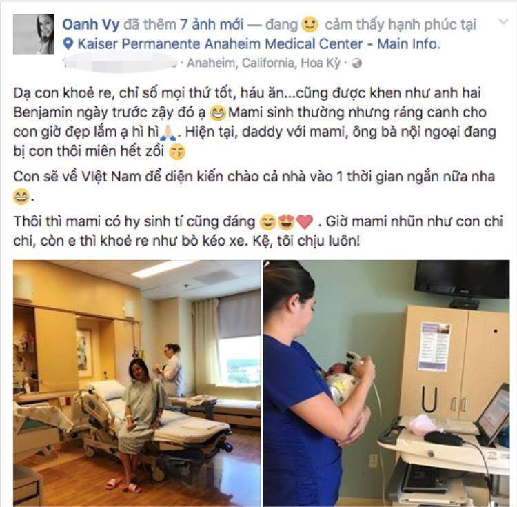 Ca sĩ Vy Oanh vừa sinh con thứ hai tại Mỹ