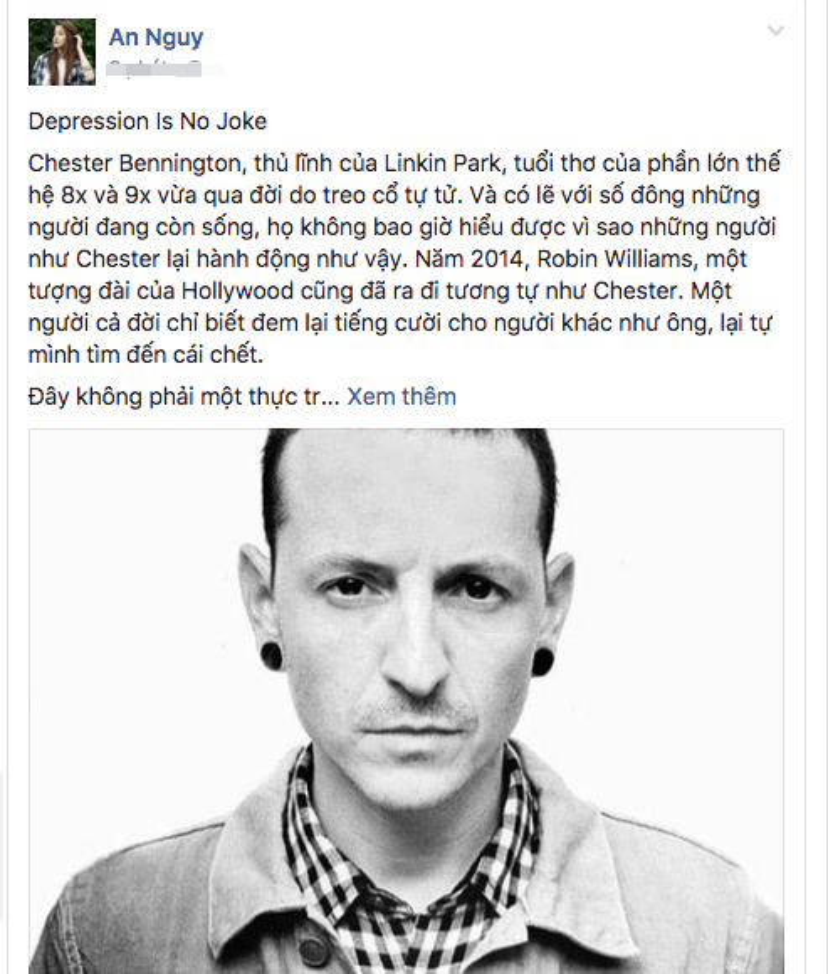 Trước thông tin thủ lĩnh Linkin Park qua đời, An Nguy tiết lộ từng có ý định tự tử khi học cấp 2