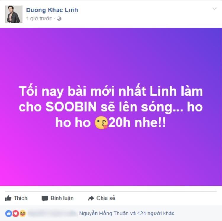 Nhạc sĩ Dương Khắc Linh bất ngờ bật mí về ca khúc trên trang cá nhân.