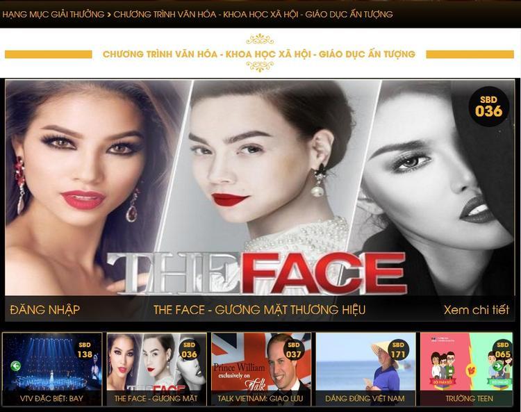 The Face - Gương mặt thương hiệu nằm trong danh sách đề cử hạng mục giải thưởng chương trình Văn hóa - Khoa học xã hội - Giáo dục ấn tượng.