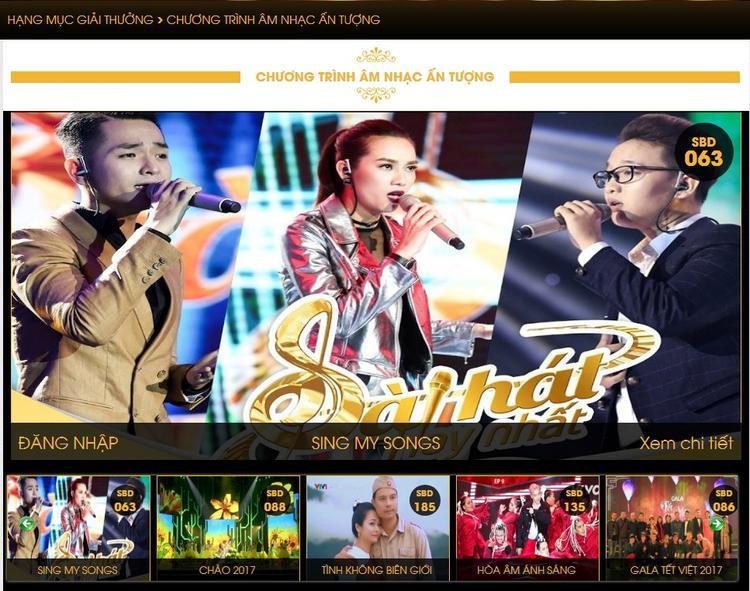Sing My Song cũng từng lên ngôi 'Chuỗi chương trình của năm' Giải Cống Hiến 2017.