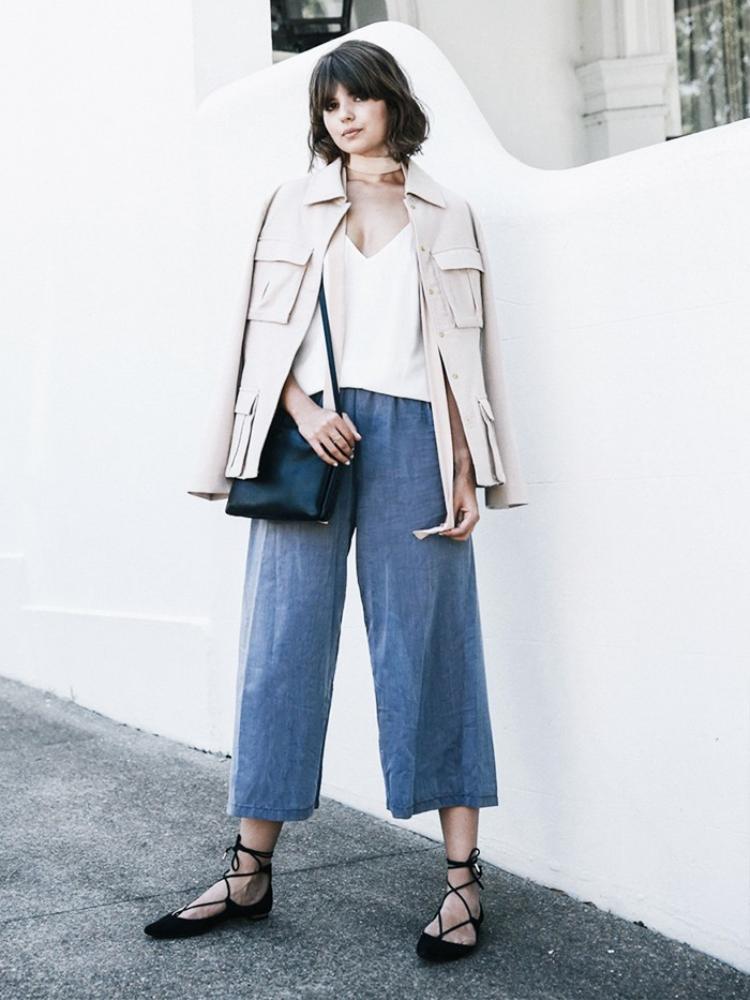 Học cách hô biến 6 phong cách khác nhau với quần Culottes Denim đơn giản