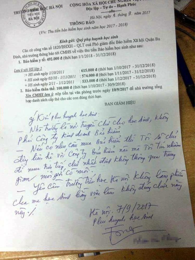 Một ý kiến từ phụ huynh học sinh có con đang theo học lớp 1 tại Hà Nội.
