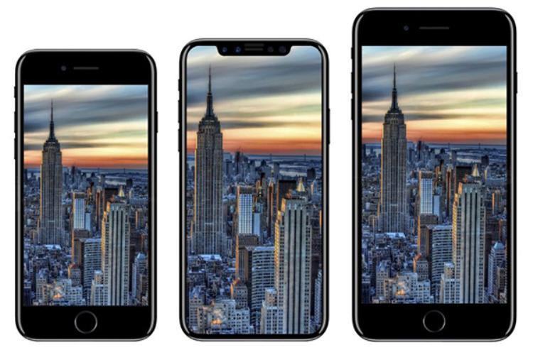 3 mẫu iPhone 'tin đồn' mà Apple sẽ trình làng theo thứ tự từ trái sáng phải: iPhone 8, iPhone X và iPhone 8 Plus