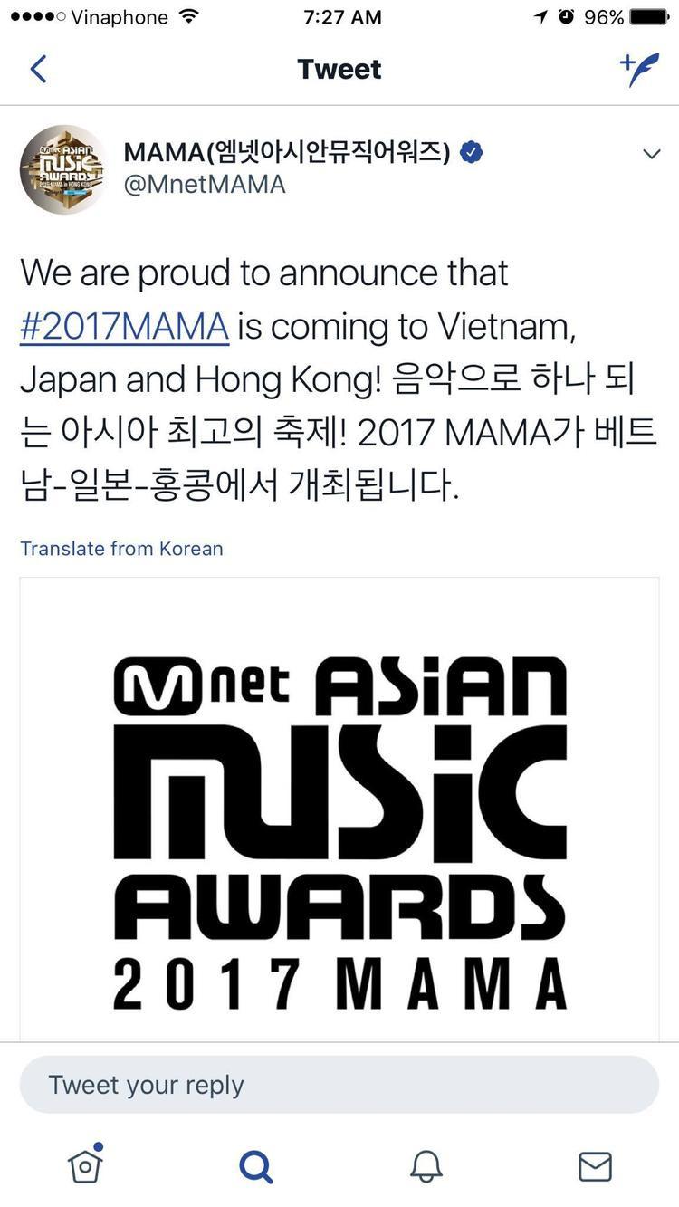 TrangTwitter chính thức của MAMA cũng đã công bố Việt Nam sẽ là 1 trong 3 địa điểm tổ chức lễ trao giải năm nay