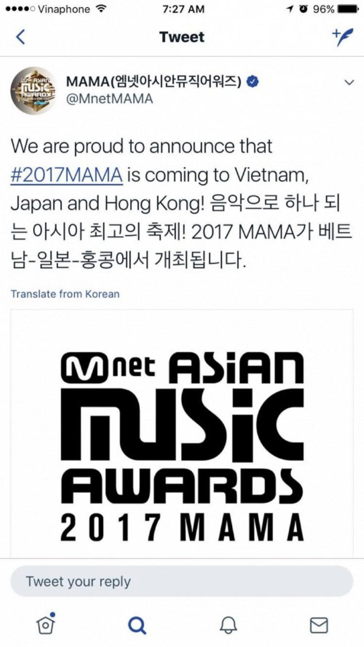 Kênh Twitter chính thức của Mnet xác nhận thông tin lễ trao giải MAMA 2017 tổ chức tại Việt Nam.