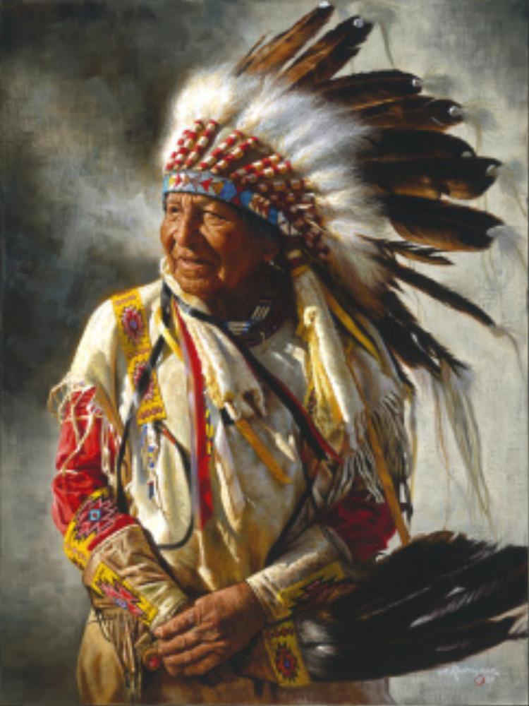 Tù trưởng da đỏ đội lông chim đại bàng đầu trắng oai nghiêm.