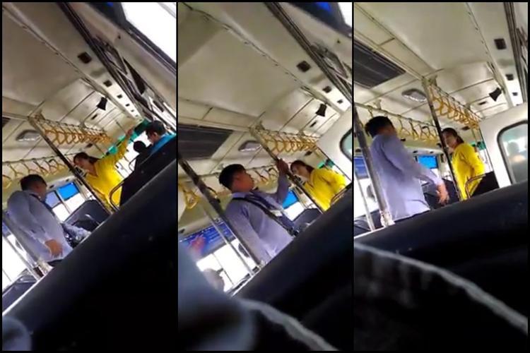 Không hài lòng với cách hành xử của nhân viên xe buýt, một phụ nữ mặc áo vàng đã có nhiều lời thậm tệ dẫn đến cuộc ẩu đả khiến nhiều hành khách trên xe phải bỏ xuống đường.