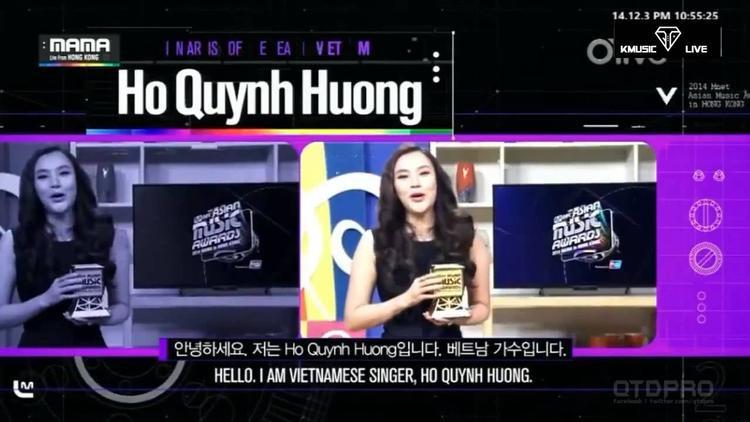Hồ Quỳnh Hương nhận giải MAMA 2014.