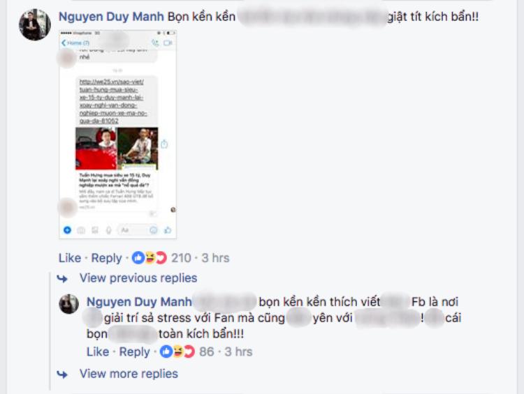 Duy Mạnh dùng khá nhiều từ ngữ nặng nề, chỉ trích gay gắt những trang mạng tự ý suy diễn cho rằng anh đá xéo Tuấn Hưng.