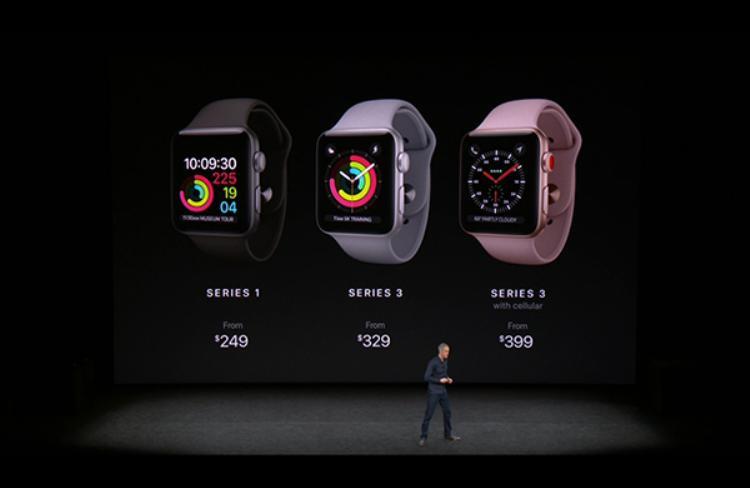 Giá của Apple Watch Series 3 tính theo đô la Mỹ. Ngoài ra Apple cũng giảm giá cho phiên bản Series 1.