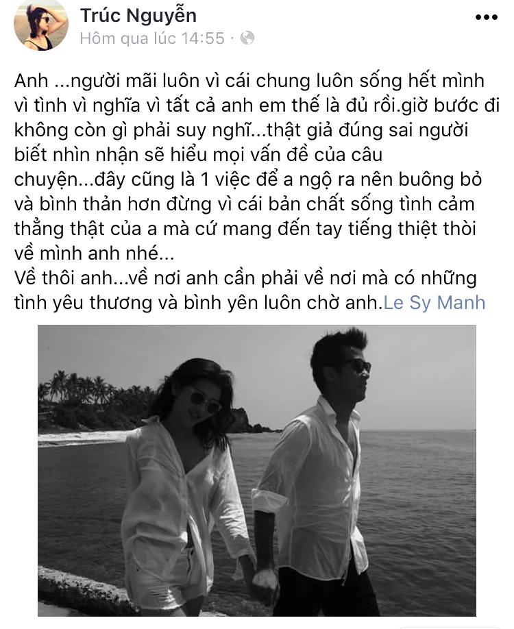 Dòng trạng thái của người mẫu Trúc Nguyễn.