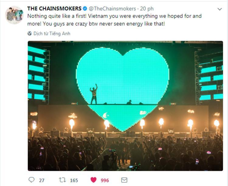 The Chainsmokers đăng tải dòng trạng thái khen ngợi fan Việt Nam.