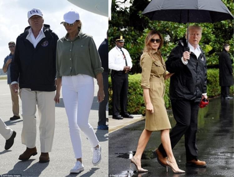 Bà Trump đi giày thể thao Converse (trái) và một lần khác bà đi giày cao gót da rắn hiệu Manolo Blahnik (phải).