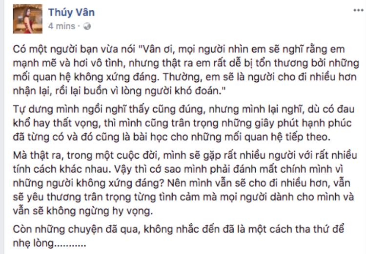 Thúy Vân lần đầu lên tiếng sau khi chia tay bạn trai đại gia, ám chỉ người cũ không xứng đáng?