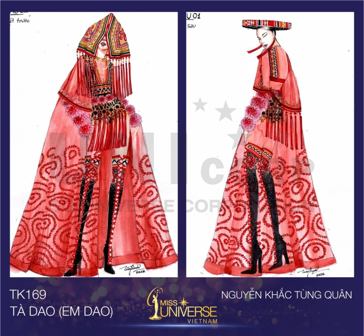 Tà Dao lấy ý tưởng từ bộ trang phục cưới của người phụ nữ Dao đỏ. Điểm nhấn của trang phục là chiếc khăn Cà Pha trên đầu.