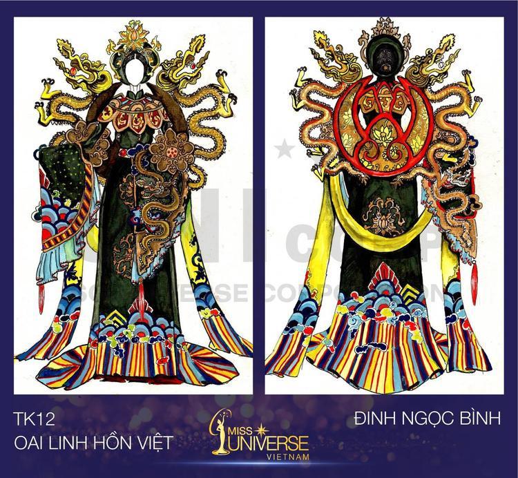 Lấy ý tưởng từ hình tượng con Rồng thời Lý cùng biểu tượng bông sen - Quốc hoa của Việt Nam và chiếc áo dài - Quốc phục Việt Nam để tạo nên sự oai linh của đất nước 4.000 năm văn hiến. Đinh Ngọc Bình đã tạo nên bộ trang phục Oai linh hồn Việt.