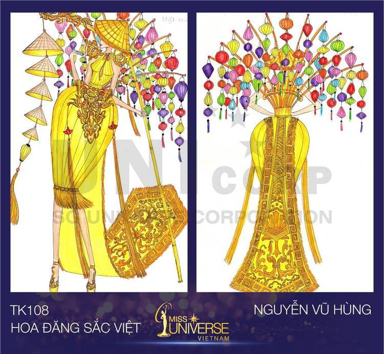 Hoa đăng sắc Việt được lấy cảm hứng từ những chiếc đèn lồng Hội An lung linh, đa sắc màu treo trên hàng phố cổ, áo yếm phụ nữ Việt xưa và những họa tiết hoa văn đặc trưng của Việt Nam.
