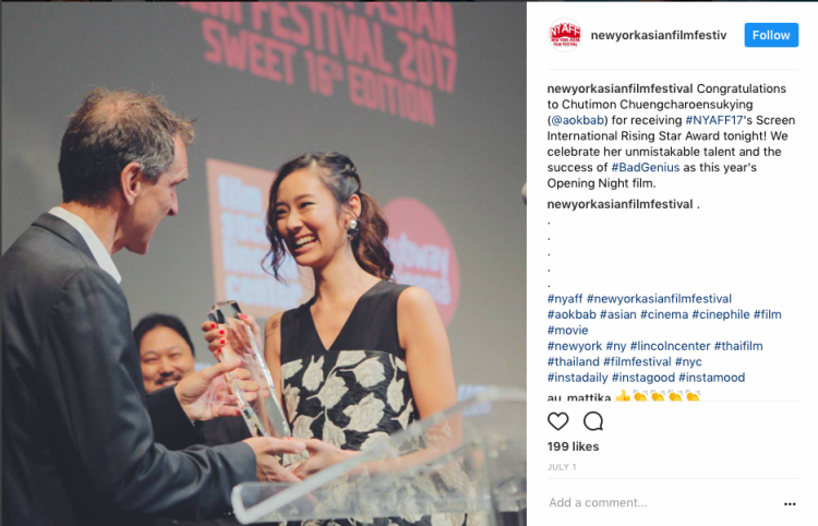 """Lynn là vai diễn đầu tiên của nữ diễn viên """"Aokbab"""" Chutimon Chuengcharoensukying cũng như đạt được giải thưởng lớn trong sự nghiệp diễn xuất của mình - Screen International Rising Star Award."""
